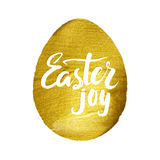 Gold Foil Calligraphy Happy Easter Greeting Card. Modern Brush Lettering. Gold Stroke Egg and White Letters. Joyful wishes, holida stock illustration