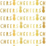 Gold foil Cheers lettering seamless vector pattern. Golden Cheers slogan pineapples on white background. For restaurant, bar menu, stock illustration