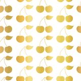Gold foil Cherry seamless vector pattern on a white background. Golden cherries with leaves. Great for home decor, birthday, royalty free illustration