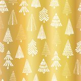Gold foil Christmas tree seamless vector pattern backdrop. White doodle trees on metallic shiny golden background. Elegant design. For Christmas, New Year, gift royalty free illustration
