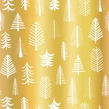 Gold foil christmas tree seamless vector pattern backdrop. White doodle trees on metallic shiny golden background. Elegant design. For Christmas, New Year, gift stock illustration