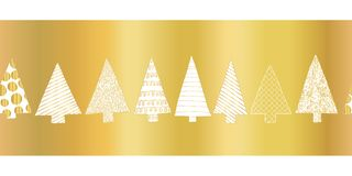 Gold foil christmas tree seamless vector pattern border. White hand drawn doodle textured Christmas trees in a row on shiny golden stock illustration