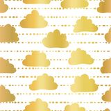 Gold foil clouds in the sky seamless vector pattern background. Golden clouds on striped white background. Great for kids, paper, vector illustration