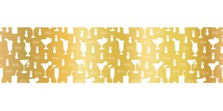 Gold foil cocktail glass seamless vector pattern border. White alcohol drinking glasses champagne flutes on golden background. For vector illustration