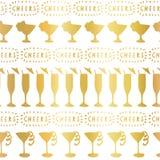 Gold foil cocktail glass vector pattern tile vector illustration