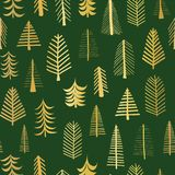 Gold foil doodle Christmas trees seamless vector pattern backdrop. Metallic shiny golden trees on green background. Elegant design. For Christmas, New Year royalty free illustration