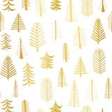 Gold foil doodle Christmas trees seamless vector pattern backdrop. Metallic shiny golden trees on white background. Elegant design. For Christmas, New Year stock illustration