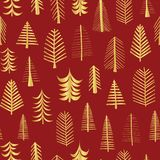 Gold foil doodle Christmas trees seamless vector pattern backdrop. Metallic shiny golden trees on red background. Elegant design. For Christmas, New Year, gift royalty free illustration