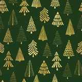 Gold foil doodle Christmas trees seamless vector pattern backdrop. Metallic shiny golden trees on green background. Elegant design. For Christmas, New Year vector illustration