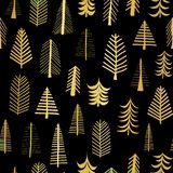 Gold foil doodle Christmas trees seamless vector pattern backdrop. Metallic shiny golden trees on black background. Elegant design. For Christmas, New Year vector illustration