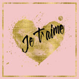 Gold foil effect heart on pink background Stock Photography