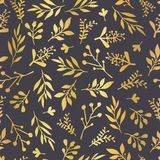 Gold foil florals on black seamless vector background. Golden ab. Stract wildflower grass shapes background. Elegant holiday pattern for scrap booking, banner royalty free illustration