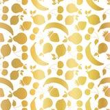 Gold foil fruits seamless vector pattern. Golden shiny strawberry, pear, cherry, lemon, banana on white background. Elegant, vector illustration