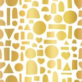 Gold foil geometric doodle shape seamless vector pattern. Hand drawn golden heart, circle, half circle, rectangle abstract shapes. On white background. Great royalty free illustration