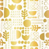 Gold foil geometric shapes on black seamless vector background. Metallic golden leaf plant and abstract shapes pattern stock image