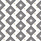 Gold foil glitter polkadot and black rhombs seamless pattern. Stock Images