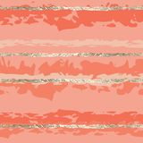 Gold foil lines seamless vector pattern pink women stock illustration