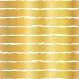 Gold foil hand drawn brush stroke horizontal lines seamless vector pattern. White wavy irregular stripes on golden background. royalty free illustration