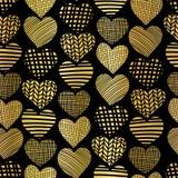 Gold foil heart shape seamless vector pattern. Golden abstract textured hearts on black background. Elegant art for web banner, vector illustration