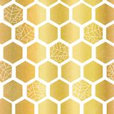 Gold foil hexagon shapes seamless vector pattern. Geometric golden hexagons background with texture. Elegant design for stock illustration