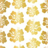 Gold foil hibiscus flower vector seamless pattern background. Elegant golden Hawaiian backdrop. Great for tropical vacation, cards. Gold foil hibiscus flower vector illustration