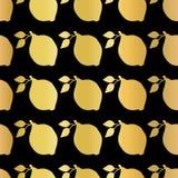 Gold foil lemon seamless vector pattern. Golden shiny lemons in rows on black background. Elegant, luxurious food print for paper, stock illustration