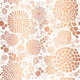 Copper Rose Gold foil mosaic flowers pattern royalty free illustration