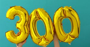 Gold foil number 300 three hundred celebration balloon