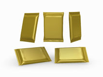 Gold foil  plain flow wrap packet with clipping path Stock Images