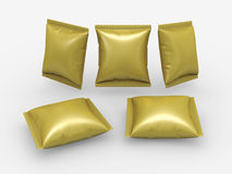 Gold foil pouch package with clipping path. Gold foil pouch use for your product like snack package with clipping path Stock Images