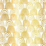 Gold foil rainbow shapes seamless vector pattern. Golden abstract half circles on white background. Elegant design for banners, royalty free illustration