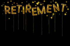 Gold foil retirement party style balloons. Dramatic black backgr Stock Images