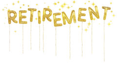 Gold foil retirement party style balloons. White background. Royalty Free Stock Image
