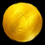 Gold Foil Round Shining Paint Stain Hand Drawn Raster Illustration Royalty Free Stock Photography