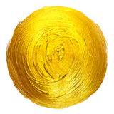 Gold Foil Round Shining Paint Stain Hand Drawn Raster Illustration. Royalty Free Stock Image