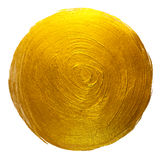 Gold Foil Round Shining Paint Stain Hand Drawn Raster Illustration. Royalty Free Stock Photo