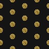 Gold foil shimmer glitter polkadot seamless pattern. Royalty Free Stock Images