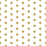 Gold foil shimmer glitter polkadot seamless pattern. Gold foil shimmer glitter polkadot white seamless pattern. Vector shimmer abstract circles golden texture Royalty Free Stock Photography