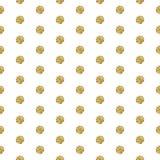 Gold foil shimmer glitter polkadot seamless pattern. Royalty Free Stock Photography