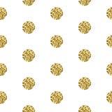 Gold foil shimmer glitter polkadot seamless pattern. Royalty Free Stock Photos