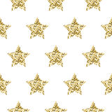 Gold foil shimmer glitter star seamless pattern. Gold foil shimmer glitter star white seamless pattern. Vector shimmer abstract stars golden texture. Sparkle Stock Images