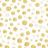 Gold foil space planets seamless vector pattern background. Golden hand drawn cosmic elements, planets, stars on white backdrop. royalty free illustration