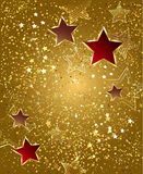 Gold foil with stars Royalty Free Stock Images
