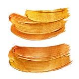 Gold Foil Stroke. Golden Metallic Glitter Design. Gold Abstract Paint Stain. Gold Red Illustratiob Set. Shiny Gold Gloss Design. Royalty Free Stock Photo
