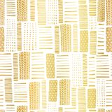 Gold foil textured rectangle seamless vector pattern. Hand drawn golden abstract textured rectangle shapes on white background. Great for banner, digital paper royalty free illustration
