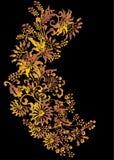Gold foliage on black Royalty Free Stock Photos