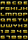 Gold font. Vector letters and figures with effect of gold Stock Photo