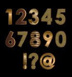Gold font digits Royalty Free Stock Images
