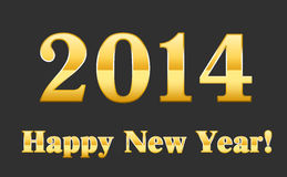 Gold font. 2014 Happy new year Stock Photo