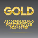 Gold Font and Numbers. Eps 10 Vector, Editable for any Background Stock Images